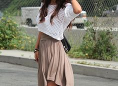 basic colour blocking. brown and white, so fresh and spring-y