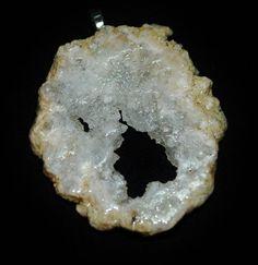 Druzy Pendant Silver NecklaceAgate Geode Slice  OOAK by Zedezign