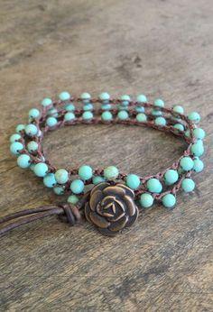 "Turquoise Crochet Multi Wrap Bracelet ""Boho Chic"", via Etsy."
