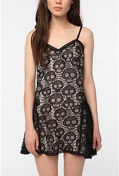 Betsey Johnson Skull slip dress