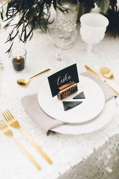 black wedding place cards
