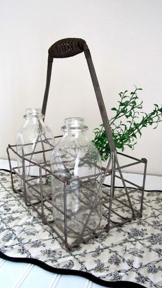 Vintage Wire Bottle Carrier  Farmhouse Kitchen by cozycottagechic, $42.00