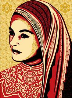 """Peace Woman"" by Shepard Fairy, 18 x 24 Silkscreen print. Art Obey, Illustrations, Illustration Art, Shepard Fairey Art, Shepard Fairy, Urbane Kunst, Institute Of Contemporary Art, Kunst Poster, Art Graphique"