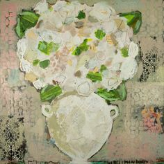 """Hydrangea with Blush and Taupe""   36x36 mixed media"