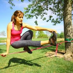 Classic Slackline Kit - 49 feet...this could be challenging and good for a fun way to exercise balancing/core.