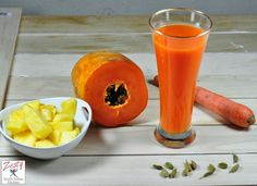 Papaya Pineapple Carrot Juice With Touch of Cardamom: Super Energy Drink - Zesty South Indian Kitchen