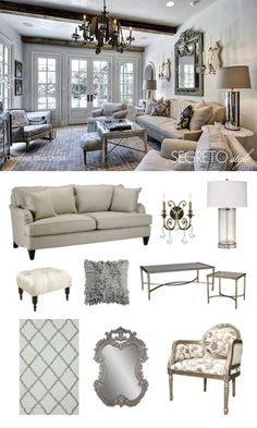 An elegant seating are filled with textures and patterns of neutrals and hints of a soft blue.