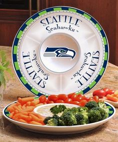 NFL Football Sports Homegating Chip & Dip Tray Round Platter Seahawks