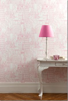 I heart wallpaper. This would be darling for T's room or girls bathroom. Paris Wallpaper, City Wallpaper, Heart Wallpaper, Wallpaper For Girls Room, Pink Wallpaper For Walls, Little Girl Wallpaper, Pink Wallpaper Bathroom, Playroom Wallpaper, Amazing Wallpaper