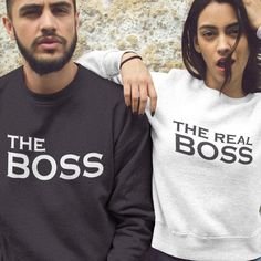 Vacation Couples Sweatshirts, The Boss - The Real Boss, Matching Couple Sweater, Best Clothing Gift for Couples - vacation clothing Cute Couple Shirts, Matching Couple Outfits, Matching Gifts, Matching Couples, Couple Clothes, Matching Couple Hoodies, Clothes For Women, T-shirt Couple, Couple Ideas