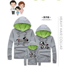 Cartoon Zebra Print Family Matching Clothes Mother Son Hoodies Outfits Family Look Mother Father Baby Matching Family Clothes