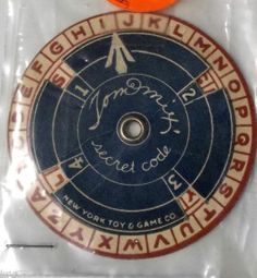 Vintage Tom Mix Secret Code Decoder Ring New York Toy and Game Co. 1938