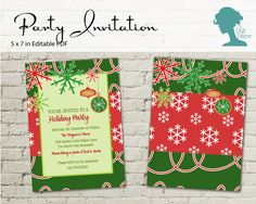 Christmas Snowflake Party Invitation $10AUD by The Digi Dame Printable Party Decor. Visit thedigidame.com to purchase!