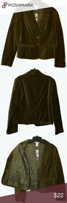 *NWT* Olive Green Velvet Blazer *NWT*  Very cute, unworn velvet blazer. Tags still attached  Size small Jackets & Coats Blazers