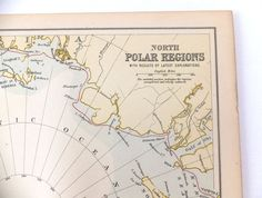 1880s North Pole Antique Map, Vintage Map of North Polar Region, Iceland, Greenland, 19th Century Map, History Buff, Home Decor on Etsy, £15.00