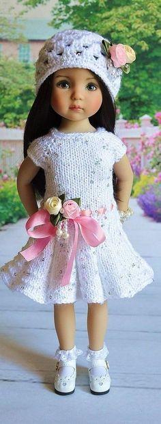 White Knitted Dress for Little Darling- Effner