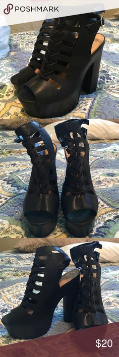 "Just Fab-Black leather platforms Just Fab-Bkack leather platforms size 11. Never been worn!!! Ordered them & they were too big for me. Very comfortable as the heel is 6 3/4"" & the platform is 2"". The woven front detail is crazy fun! JustFab Shoes Platforms"