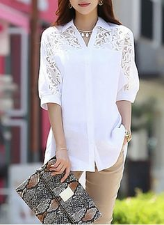 Shop Batwing Sleeve Polo Neck Lace Patchwork Loose Blouse on sale at Tidestore with trendy design and good price.Designer Clothes, Shoes & Bags for WomenLatest fashion trends in women's Blouses. Blouse And Skirt, Blouse Dress, Kurti Neck Designs, Blouse Designs, Designs For Dresses, Fall Fashion Outfits, Blouse Styles, Beautiful Outfits, Blouses For Women