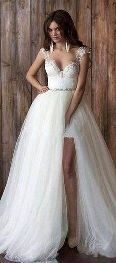 Chic Lace & Satin Sweetheart Neckline 2 In 1 Wedding Dresses With Beadings & Rhinestones