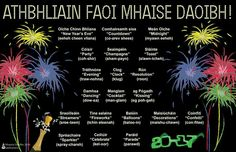Athbhliain faoi mhaise daoibh - Happy New Year Irish Gaelic Language, Gaelic Words, Class Rules Poster, New Year's Eve Countdown, Irish People, Irish Landscape, Champagne Party, Irish Pride, New Years Poster