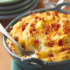 Loaded Mashed Potato Casserole #recipe (a great way to spice up your mashed potato dish)