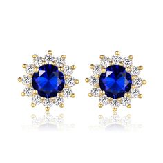 Flower Blue Sapphire Crystal Yellow Gold Filled Womens Stud Earrings Jewelry