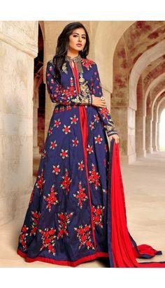 Blue Art Silk Gown Suit With Dupatta - DMV14610