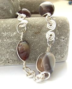 Bracelet wire work gemstone Botswana agate by BlueForestJewellery, $35.00