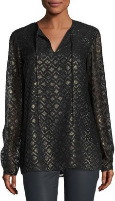 Lafayette 148 New York Eli Metallic Geometric Mineralized Cloth Blouse