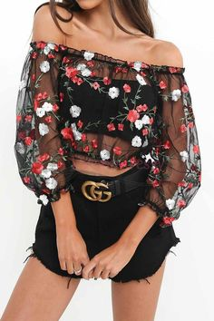 Women Mesh Floral Summer Ladies Blouse Casual See Through Sheer Crop Top T Shirt Look Fashion, Teen Fashion, Fashion Outfits, Fashion Trends, Latest Fashion, Womens Fashion, Fashion Bloggers, Fashion Styles, Fashion Tips