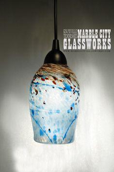 Turquoise Speckled Hand Blown Glass Pendant Light  Unique