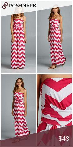 Farrah Chevron Print Maxi Chevron Print, full length, strapless dress with empire waist and pockets.   95% polyester 5% Spandex Dresses Strapless