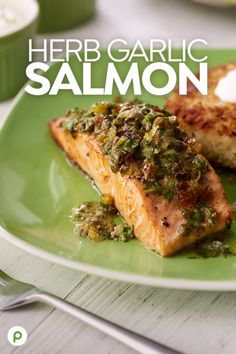 Herb Garlic Salmon Recipe - There once was a great Irish meal. The taste was a really big deal. Publix Aprons® will please wit - Salmon Recipes, Fish Recipes, Meat Recipes, Seafood Recipes, Mexican Food Recipes, Cooking Recipes, Healthy Recipes, Jai Faim, Garlic Salmon