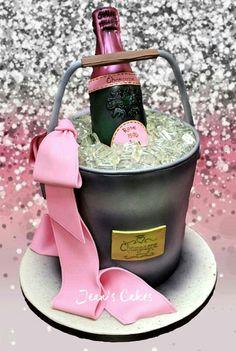 Champagne bucket cake, celebration cake, decorated with IceWise Sugarpaste Icing. 21st Birthday Cake For Girls, Elegant Birthday Cakes, Champaign Cake, Ice Bucket Cake, Alcohol Cake, Cupcake Cakes, Cupcakes, Girly Cakes, Champagne Buckets