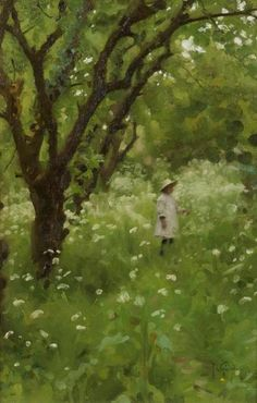 The Orchard, 1920, Thomas Cooper Gotch. English Pre-Raphaelite Painter, (1854-1931)