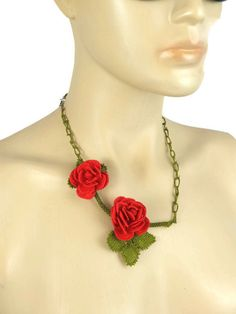 Red Rose Necklace Crochet Necklace Needle Lace Jewelry by Nakkashe, $65.00