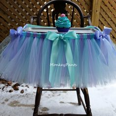 High Chair Tutu Skirt - Cake Smash Tutu - High Chair Decoration - Lavender and Aqua Tutu - 1st Birthday Decoration by MonkeyPantsPartyHats on Etsy https://www.etsy.com/listing/256798505/high-chair-tutu-skirt-cake-smash-tutu