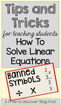Solving linear equations is an immensely important skill for middle and high school students to master.  It is imperative that students understand what they need to do and why they need to do it.  In this post, I would like to share some of the strategies and resources I use in my eighth grade math classes. https://www.pinterest.com/freetodiscover/