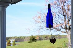 Wine Bottle Wind Chime - Garden Decor - Gift for Mom - Outdoor Decor - Patio Decor - Gifts for Her - Wine Decor - Wine Bottlechime - Garden