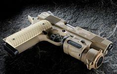 Nighthawk Custom 1911 GRP (Global Response Pistol) in desert tan digicamo Weapons Guns, Guns And Ammo, Revolver, Fire Powers, Cool Guns, Self Defense, Tactical Gear, Firearms, Shotguns