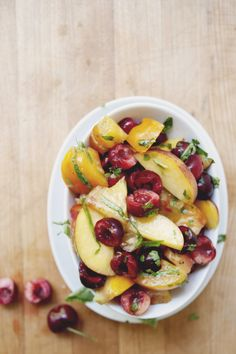 peach and cherry made perfect summer salad. feel the sweet sour fresh sensation in one bowl.