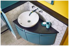 The miro sit-on basin is ideal teamed with this symmetry corner washbasin unit Blue Bathroom Furniture, Blue Bathroom Vanity, Bathroom Basin, Bathroom Design Small, Bathroom Layout, Bathroom Colors, Bathroom Ideas, Corner Vanity Unit, Bathroom Storage Units