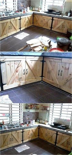 Making Money at Home Writing Online - Here is an idea for the people, who are planning to renovate the kitchen and it can save the money because the reclaimed wood pallet kitchen cabinets can be created easily investing some time, not the money if the pal Pallet Projects, Home Projects, Pallet Ideas, Wood Ideas, Diy Pallet Kitchen Ideas, Pallet Kitchen Cabinets, Pallet Cabinet, Country Kitchen Cabinets, Kitchen Wood
