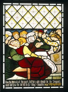 Stained and painted glass panel designed by Dante Gabriel Rossetti, and made around 1862.