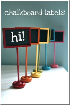 Check out the tutorial on how to make these funmini chalkboardsonLittle Bit Funky. In 20 minutes you'll have some great little signs