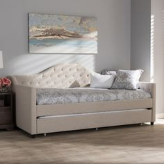 Shop for Baxton Studio Aesop Modern and Contemporary White Faux Leather Upholstered Twin Size Daybed Bed Frame. Get free delivery On EVERYTHING* Overstock - Your Online Furniture Outlet Store! Get in rewards with Club O! Daybed Bedding, Furniture, Wood Daybed, Home, Daybed With Trundle, Contemporary Fabric, Contemporary Room, Trundle, Contemporary Daybeds