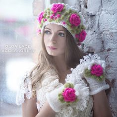 """Купить Комплект """"Princess"""" от Olga Lace - повязка на голову, повязка с розами, объемная вышивка"""