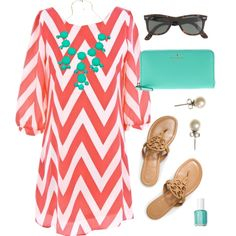"""Coral & Tiffany"" by classically-preppy on Polyvore - can't wait for summer!!!"