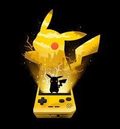 Gorgeous Pokemon painting with Pikachu coming out from a Gameboy from the artist Dan Fajardo. Affilate link from Displate Pikachu Art, Cute Pikachu, Cool Pokemon, Pokemon Fan, Gameboy Pokemon, Nintendo, Pikachu Memes, Pikachu Tattoo, Pikachu Drawing
