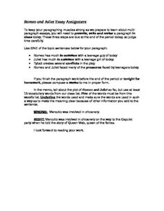 Memo writing activity. This creative composition assignment is designed as an in-class task that will produce a single paragraph and generate a memo that melds current class vocabulary to the plot of Romeo and Juliet. The assignment can be modified as one or two take-home assignments, as well.